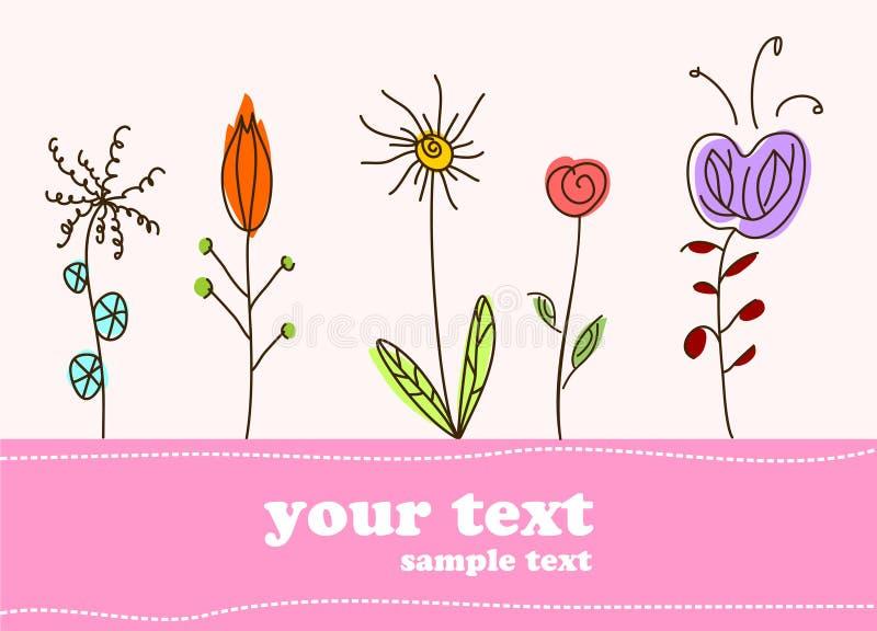 Priorità bassa del fiore della scheda del regalo dei bambini royalty illustrazione gratis