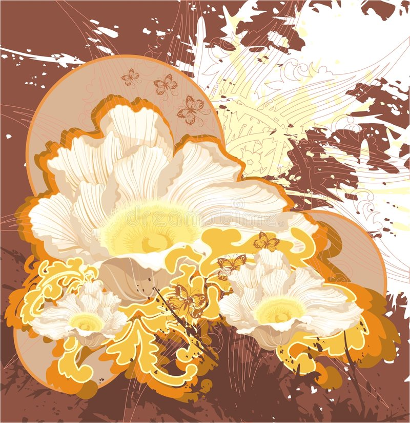 Priorità bassa del grunge del Brown con il fiore beige illustrazione di stock