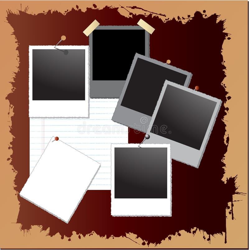 Priorità bassa del grunge dell'annata con i blocchi per grafici del polaroid illustrazione vettoriale