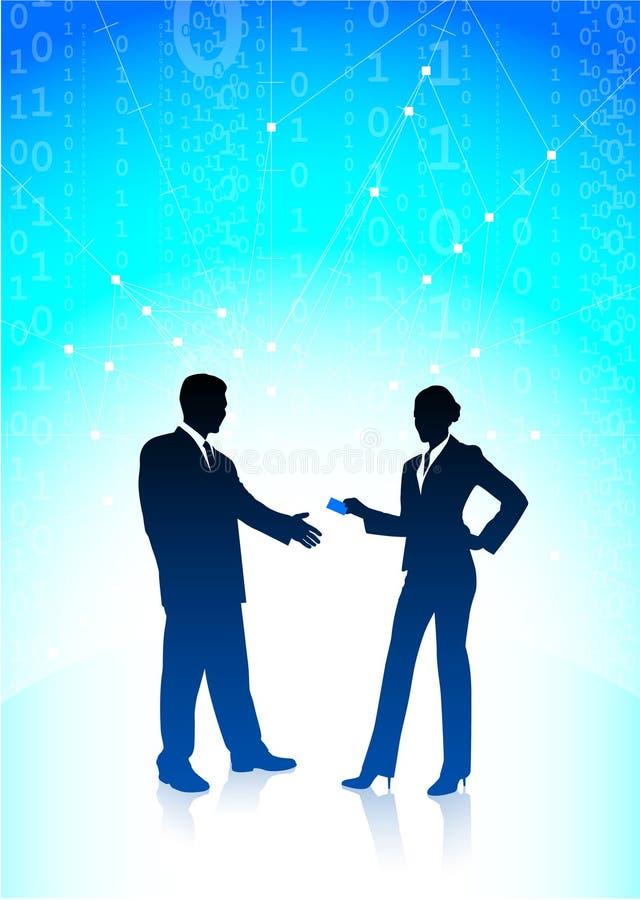 Priorità bassa del Internet della donna di affari e dell'uomo d'affari illustrazione vettoriale