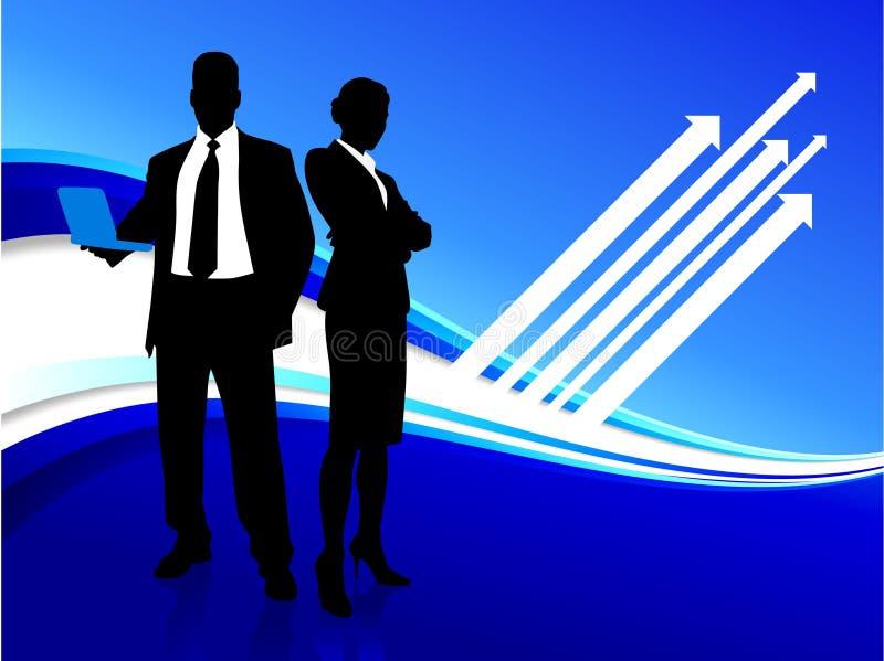 Priorità bassa del Internet della donna di affari e dell'uomo d'affari illustrazione di stock
