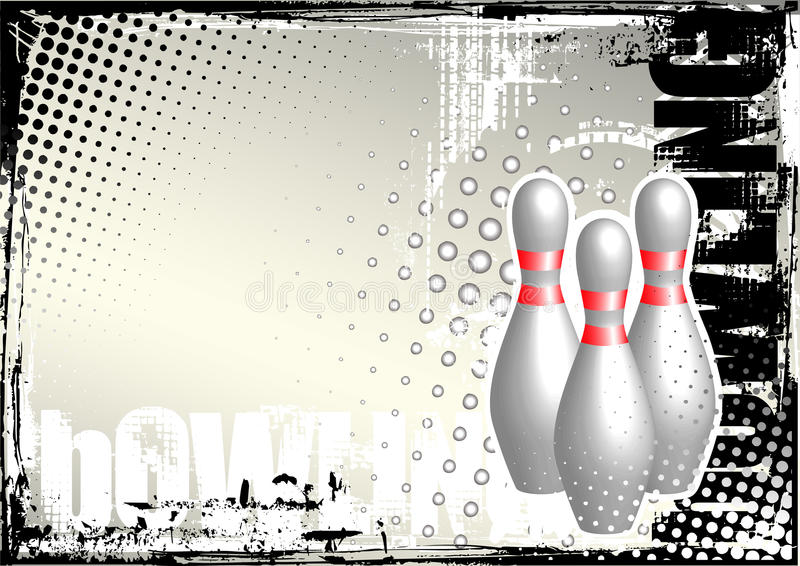 Priorità bassa del manifesto del grunge di bowling illustrazione vettoriale