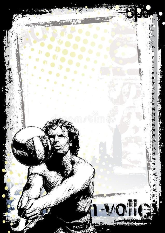 Priorità bassa del manifesto di pallavolo della spiaggia royalty illustrazione gratis