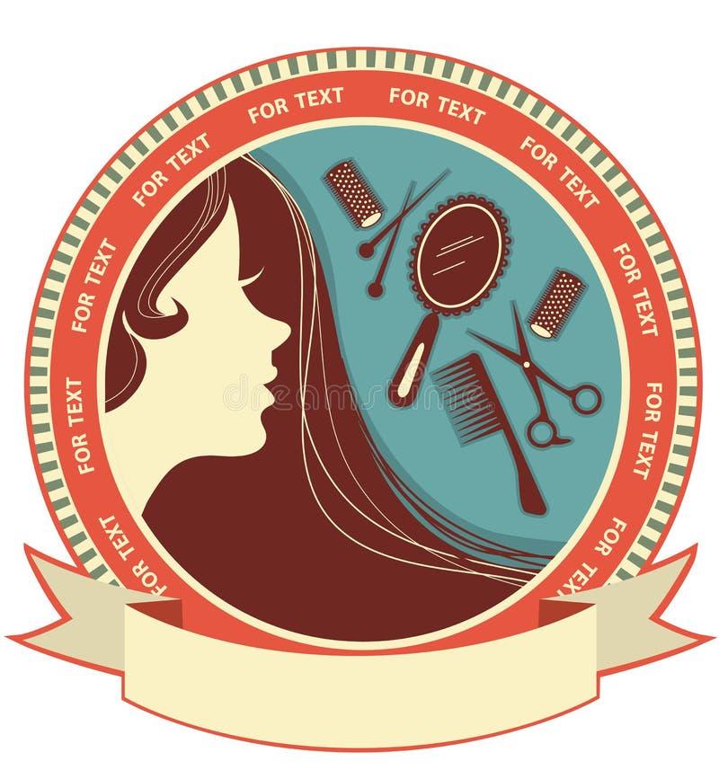 Priorità bassa del salone di capelli con il fronte della donna royalty illustrazione gratis