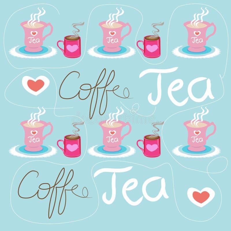Priorità bassa del tè del caffè illustrazione vettoriale
