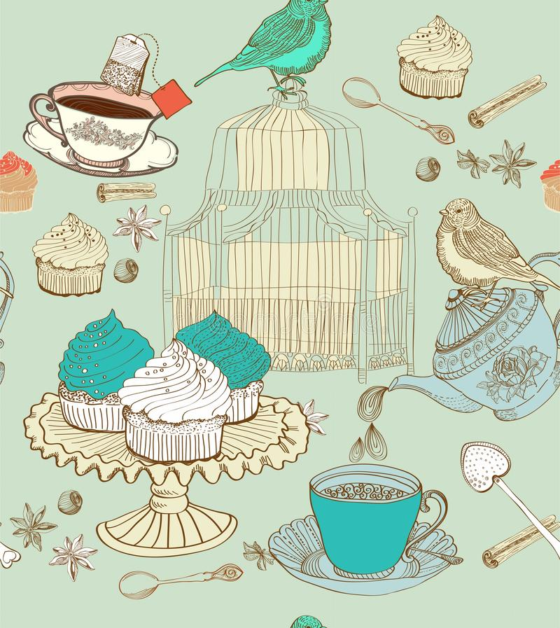 Priorità bassa del tè dell'annata illustrazione vettoriale