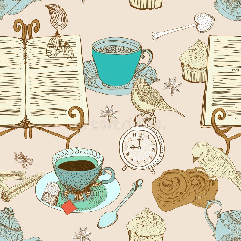 Priorità bassa del tè di mattina dell'annata illustrazione di stock