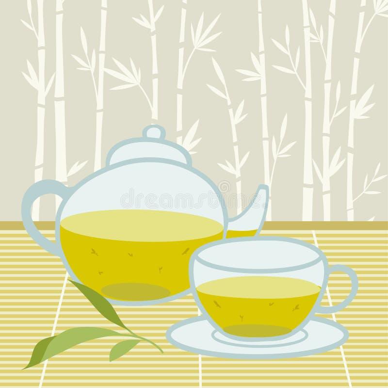 Priorità bassa del tè verde illustrazione di stock