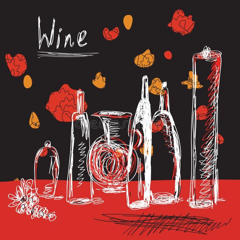 Priorità bassa del vino con le bottiglie royalty illustrazione gratis