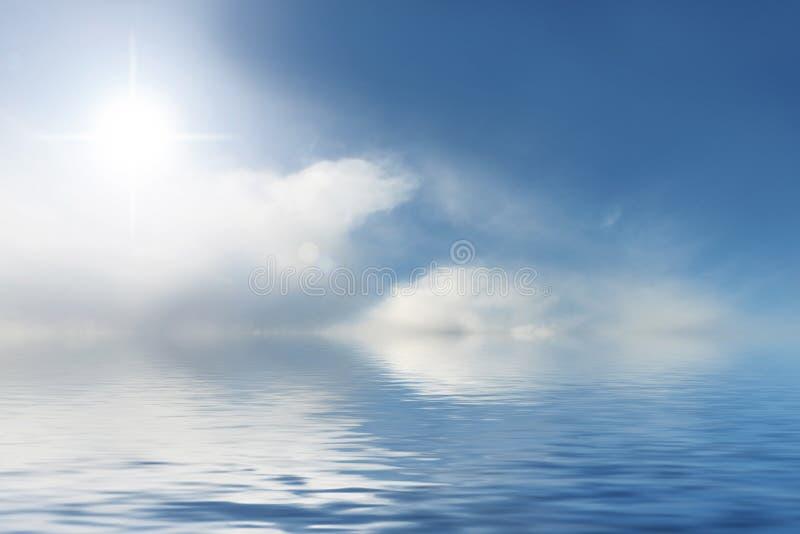 Priorità bassa dell'acqua blu e del cielo pieno di sole immagine stock libera da diritti