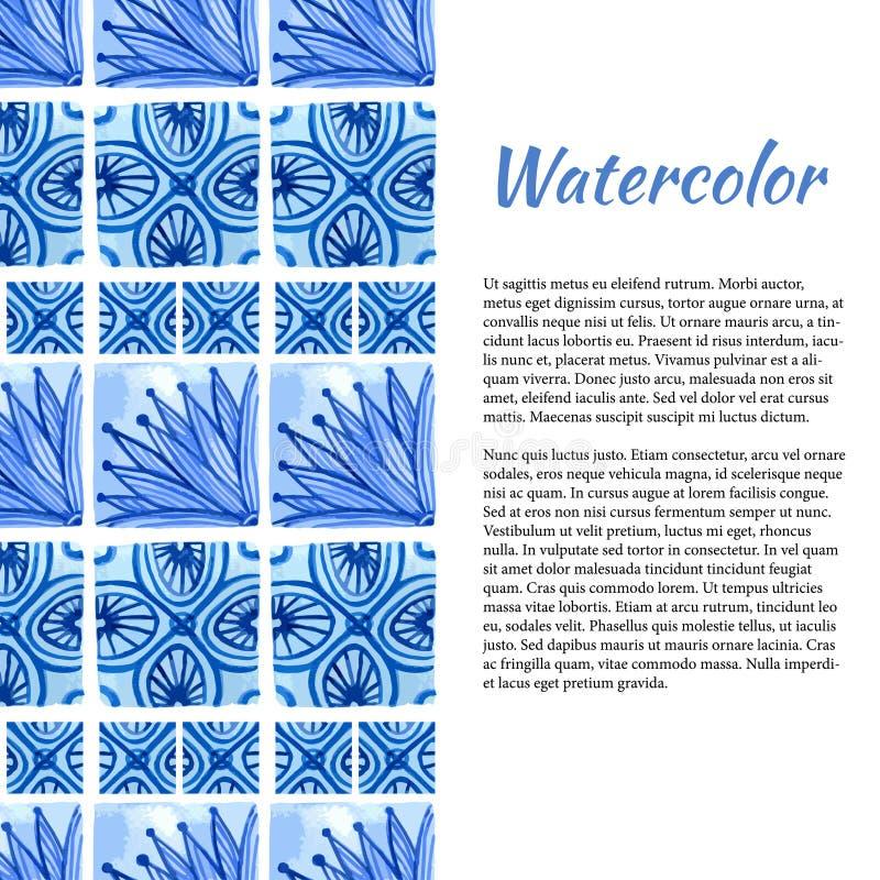 Download Priorità Bassa Dell'acquerello Confine Dell'ornamento Nel Colore Blu Illustrazione Vettoriale - Illustrazione di decorazione, asiatico: 56884193