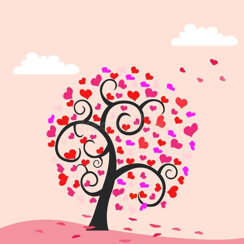 Priorità bassa dell'albero dei cuori - tema del biglietto di S royalty illustrazione gratis