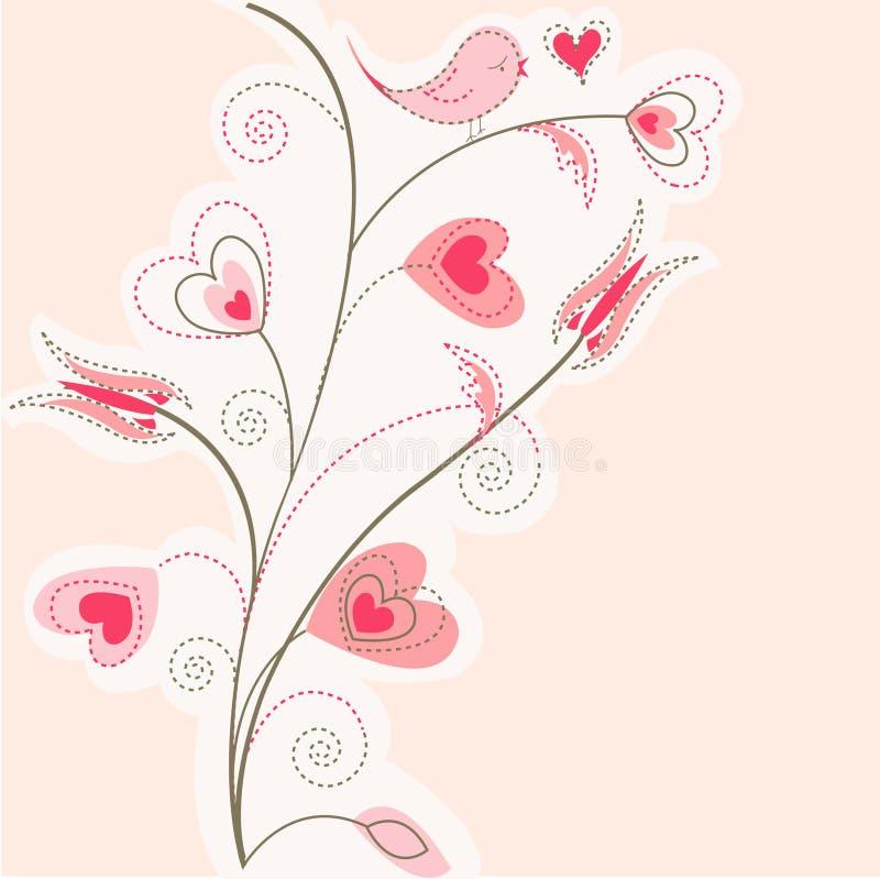 Priorità bassa dell'albero del biglietto di S. Valentino, cuori dentellare illustrazione di stock