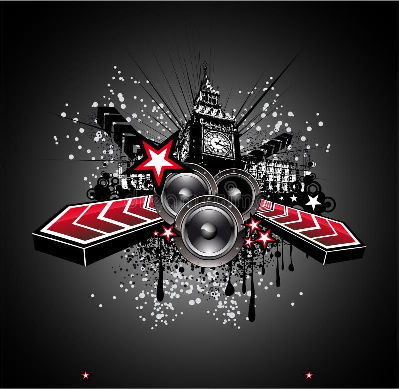Priorità bassa dell'aletta di filatoio di musica della discoteca di Londra royalty illustrazione gratis