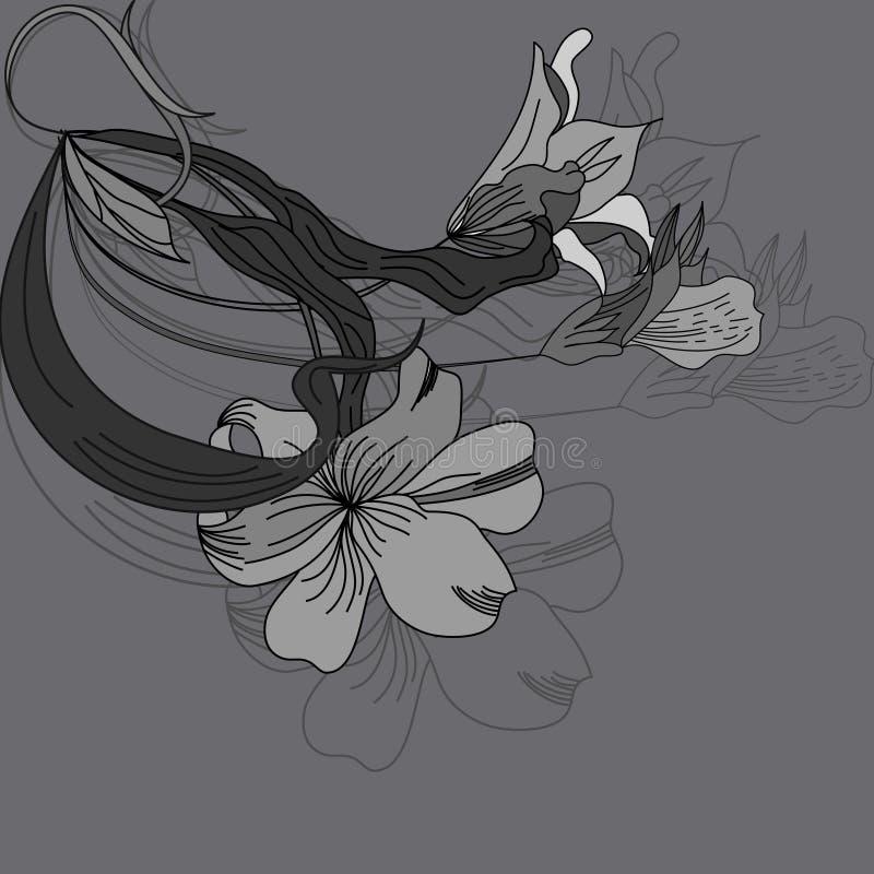 Priorità bassa dell'annata con i fiori illustrazione di stock