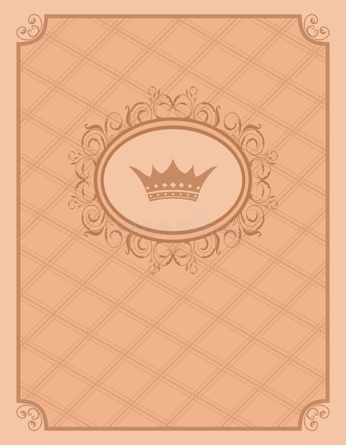 Priorità bassa dell'annata con il blocco per grafici e la parte superiore floreali illustrazione vettoriale