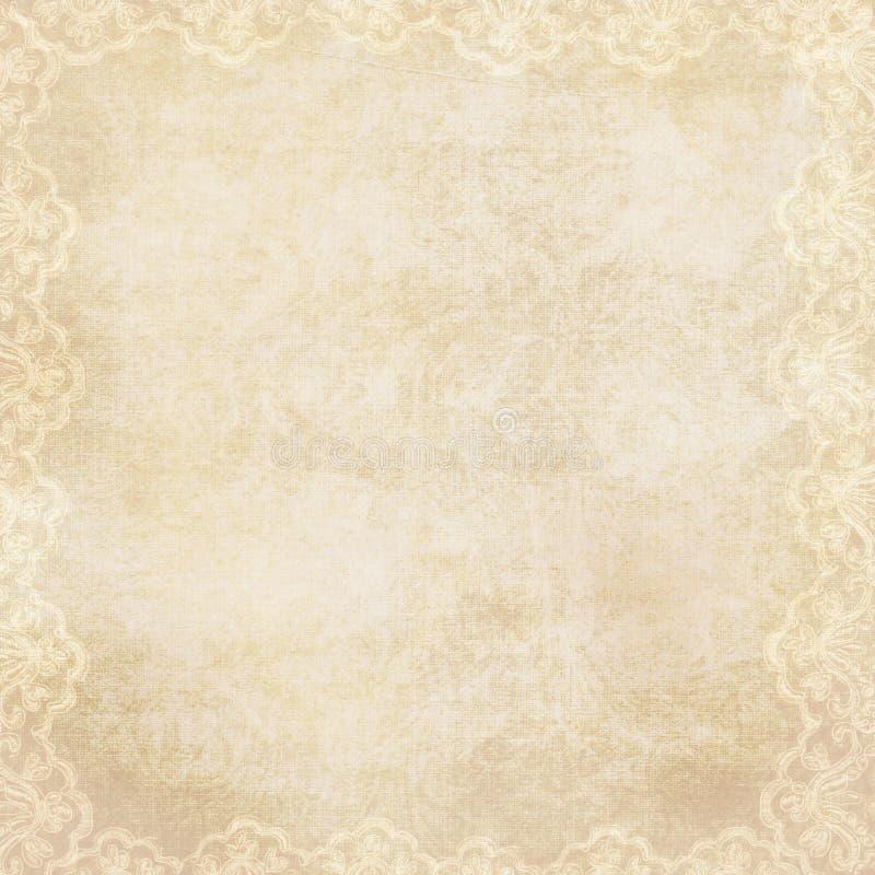 Priorità bassa dell'annata con il bordo di pizzo illustrazione di stock
