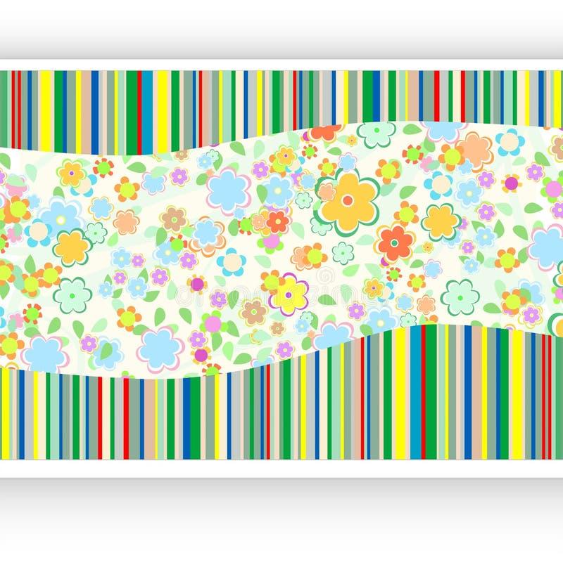 Priorità bassa dell'annata con la scheda di carta ed i fiori royalty illustrazione gratis