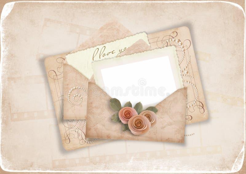 Priorità bassa dell'annata con la vecchia cartolina all'amato illustrazione di stock