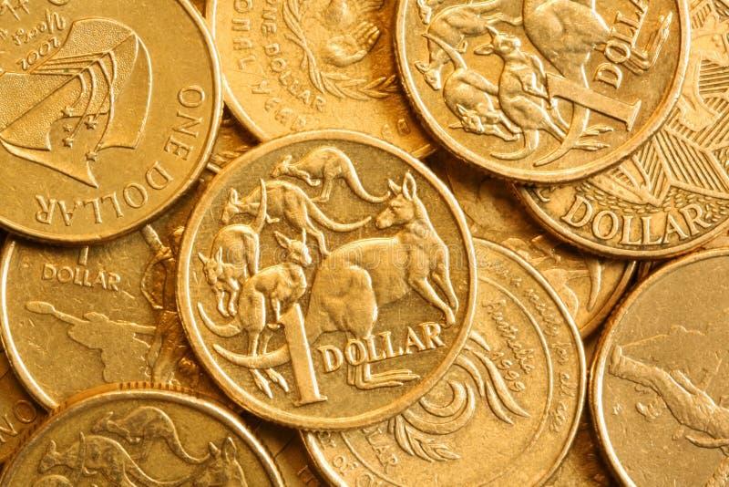 Priorità bassa dell'australiano lle monete dell'un dollaro fotografia stock