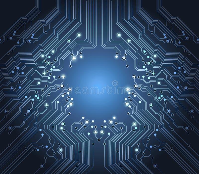 Priorità bassa dell'azzurro dell'estratto di vettore di tecnologia illustrazione di stock