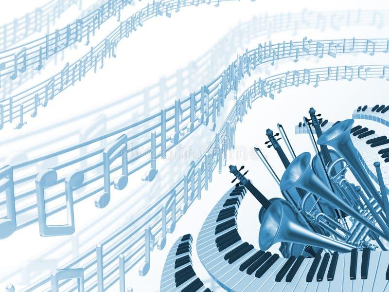 Priorità bassa dell'azzurro di musica illustrazione di stock
