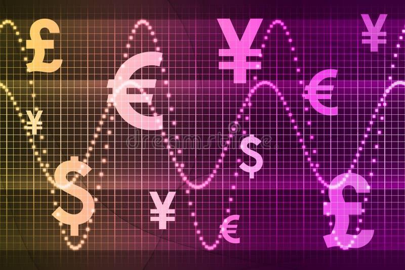 Priorità bassa dell'estratto di affari di valute del mondo illustrazione di stock