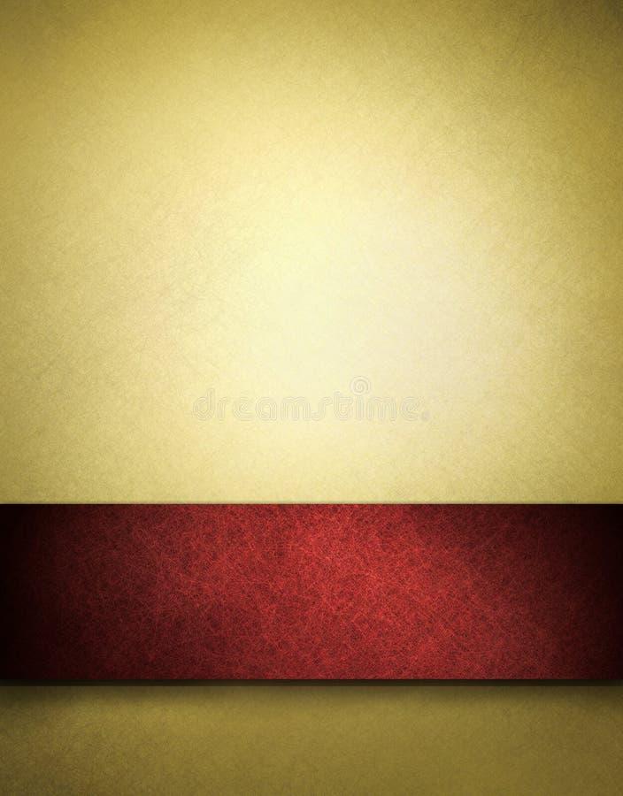 Priorità bassa dell'oro con la banda rossa per testo o il titolo illustrazione vettoriale