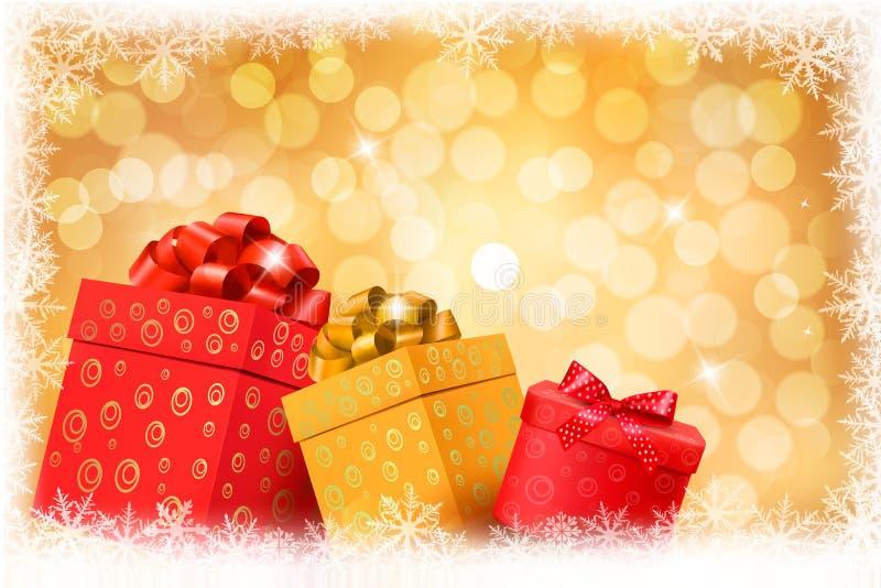 Priorità bassa dell'oro di natale con le caselle di colore del regalo royalty illustrazione gratis