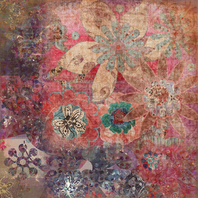 Priorità bassa della Boemia floreale dell'album della tappezzeria di Grunge dell'annata illustrazione vettoriale