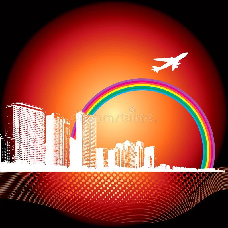 Priorità bassa della città con l'aeroplano illustrazione di stock