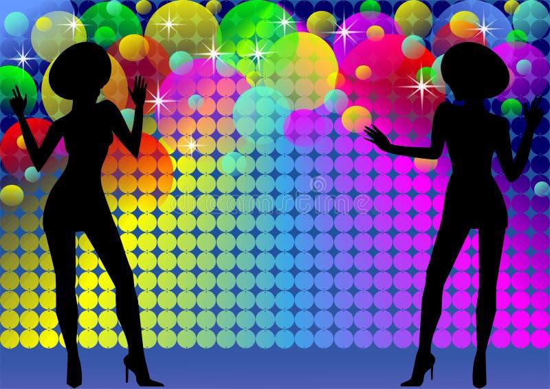 Priorità bassa della discoteca con le siluette e gli indicatori luminosi delle ragazze illustrazione di stock