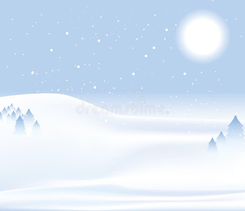 Priorità bassa della neve di giorno di inverno illustrazione vettoriale