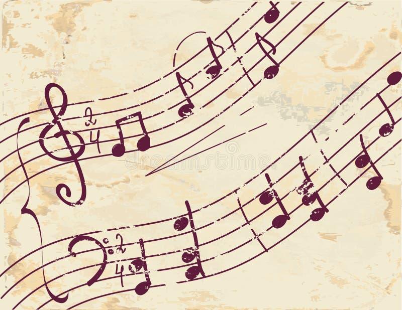 Priorità bassa della nota musicale sul documento illustrazione di stock