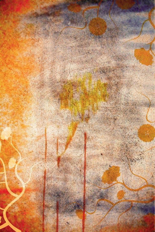 Priorità bassa della parete di Grunge con le margherite illustrazione di stock