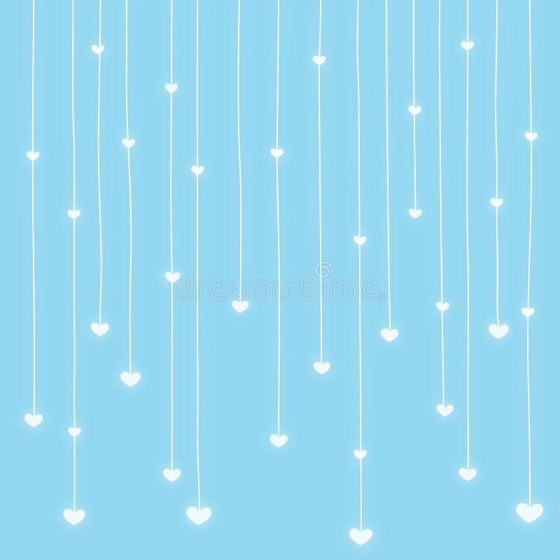 Priorità bassa della pioggia dei cuori royalty illustrazione gratis