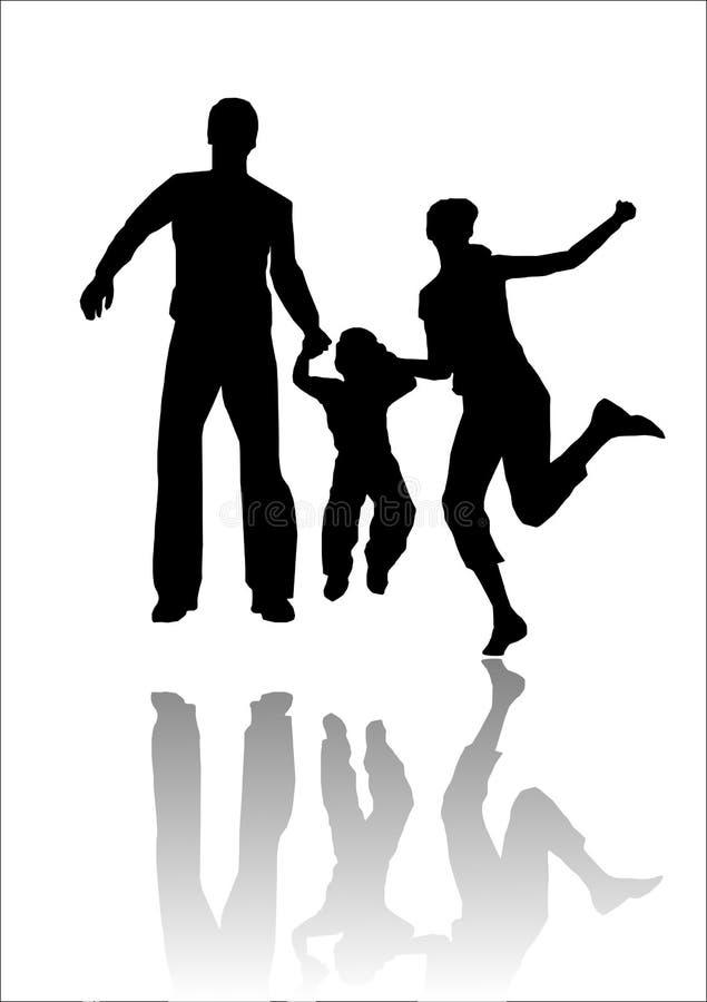 Priorità bassa della siluetta della famiglia illustrazione di stock