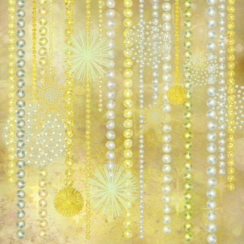 Priorità bassa delle decorazioni di natale della perla e dell'oro royalty illustrazione gratis