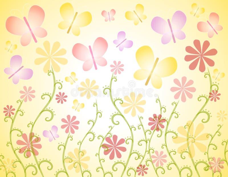 Priorità bassa delle farfalle e dei fiori della sorgente illustrazione vettoriale