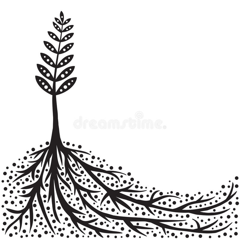 Priorità bassa delle radici e della pianta illustrazione di stock