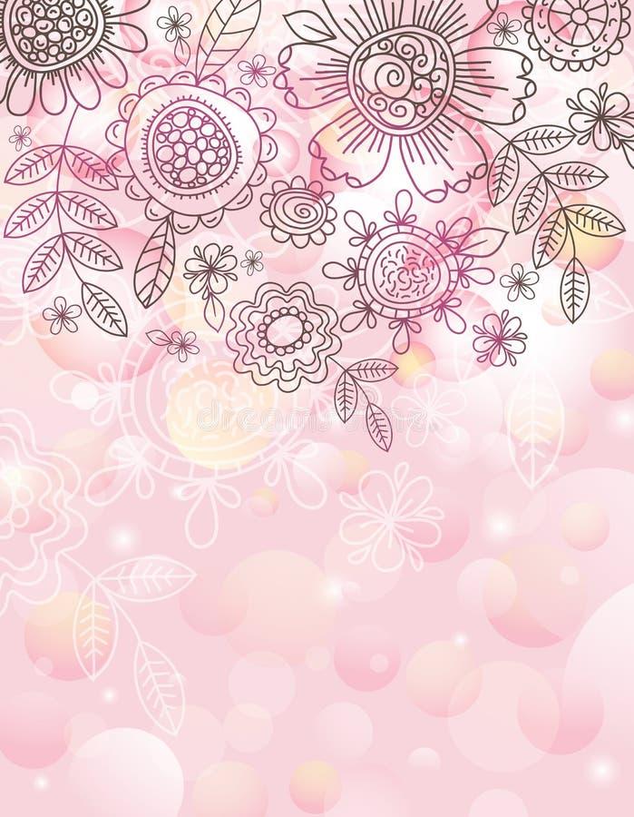 Priorità bassa dentellare con i fiori di tiraggio della mano royalty illustrazione gratis