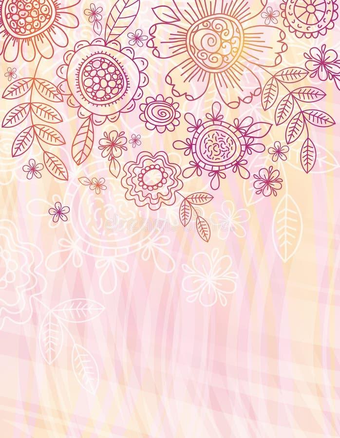 Priorità bassa dentellare con i fiori di tiraggio della mano illustrazione di stock