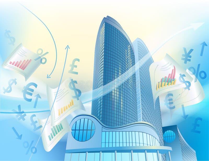 Priorità bassa di affari con le costruzioni moderne della città illustrazione vettoriale
