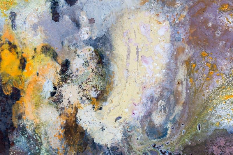 Priorità bassa di arte astratta Pittura a olio su tela di canapa Struttura di colore fotografie stock