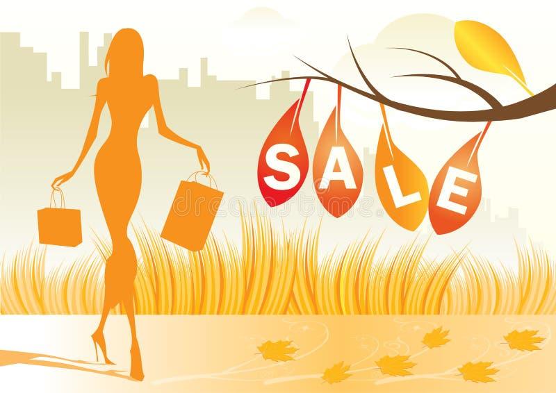 Priorità bassa di autunno con la donna di acquisto illustrazione di stock