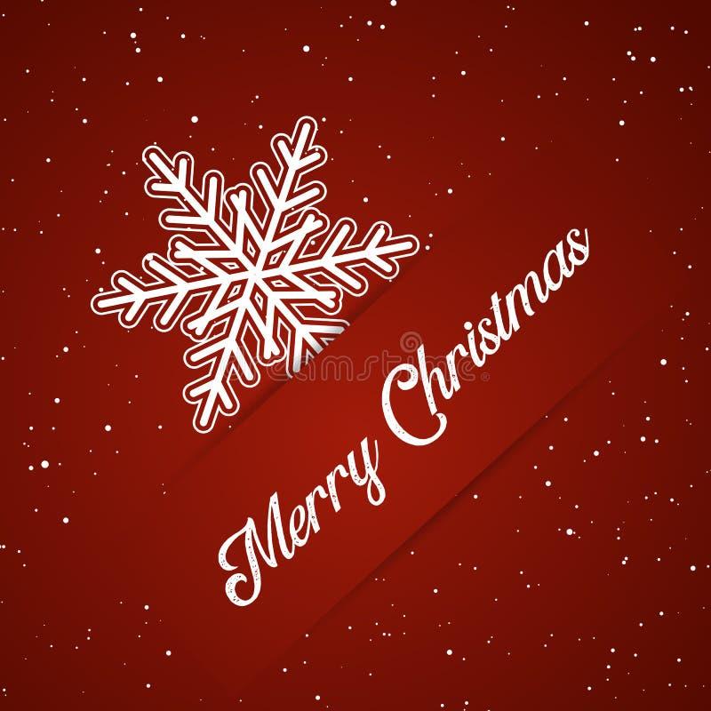 Priorità bassa di Buon Natale con il fiocco di neve illustrazione di stock