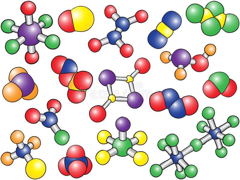 Priorità bassa di chimica - modelli colorati della molecola illustrazione di stock