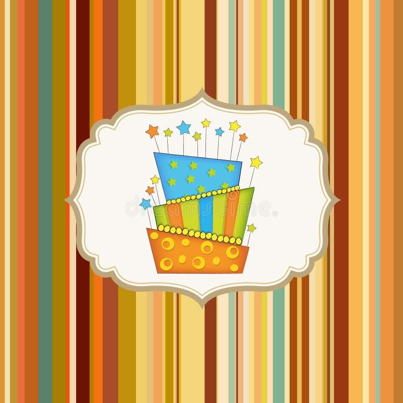 Priorità bassa di compleanno con la torta royalty illustrazione gratis