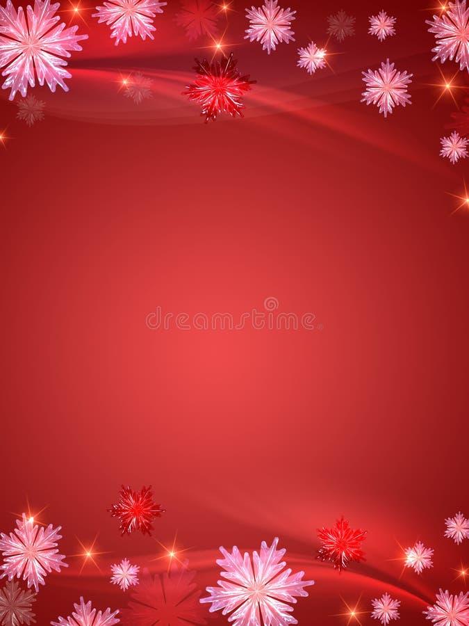 Priorità bassa di cristallo di colore rosso dei fiocchi di neve illustrazione di stock