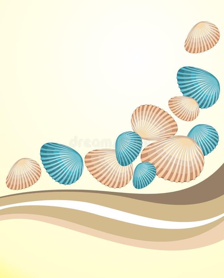Priorità bassa di estate con i seashells illustrazione vettoriale